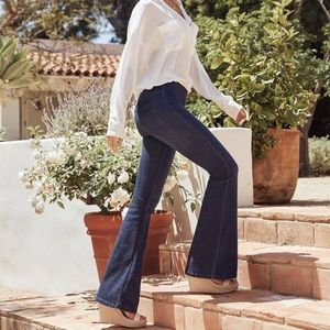 Free People Perfect Navy Jolene Clean Flare Jeans